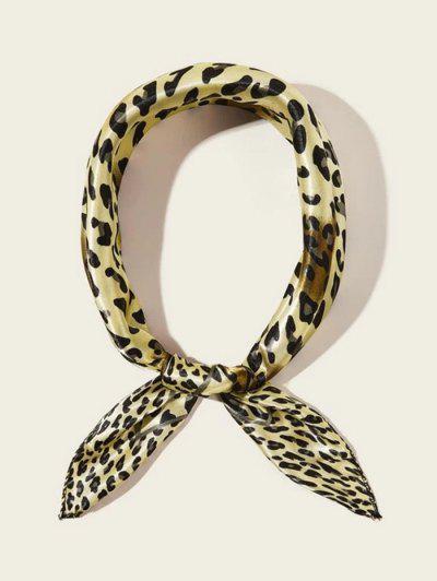 Bufanda Cuadrada Pequeña Estampado Leopardo - Beis