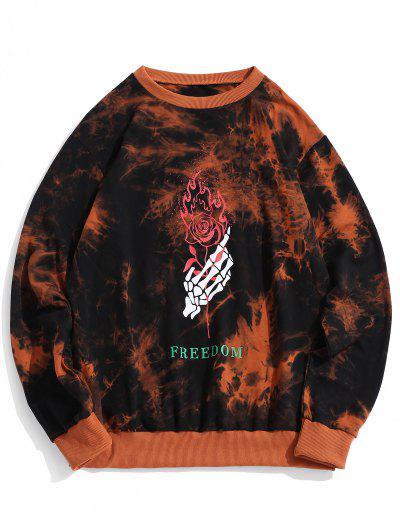 ZAFUL Skeleton Hand Rose Print Tie Dye Sweatshirt - Dark Orange 2xl