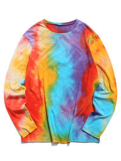 ZAFUL Tie Dye Print Long Sleeve T Shirt - Multi L