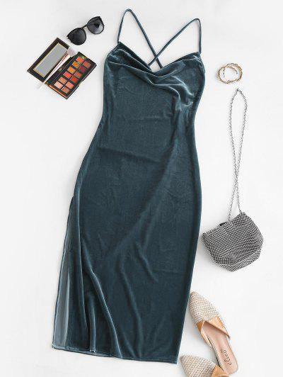 Criss Cross Velvet Backless Slit Midi Dress - Deep Blue M