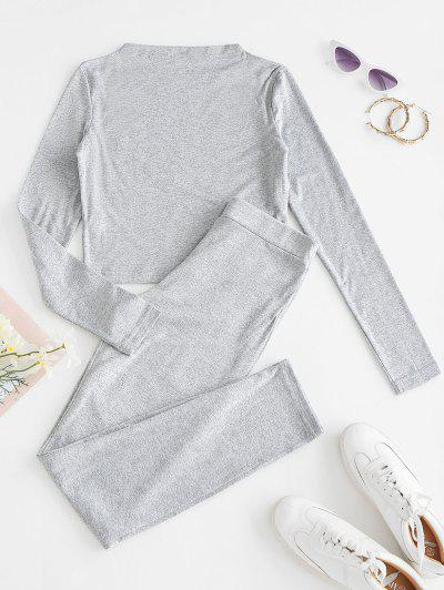 Heathered Sports Cropped Top And Leggings Set - Gray Cloud M