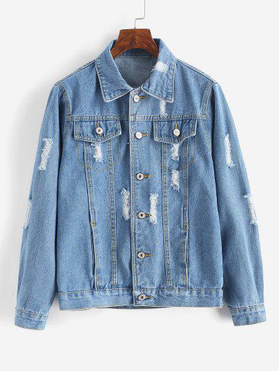 Button Up Distressed Pockets Denim Jacket - Silk Blue M