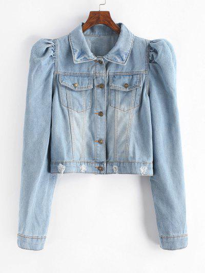 Puff Sleeve Ripped Jean Jacket - Light Blue M