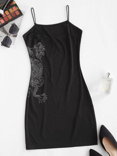 ZAFUL Dragon Print Oriental Bungee Strap Dress - Black M