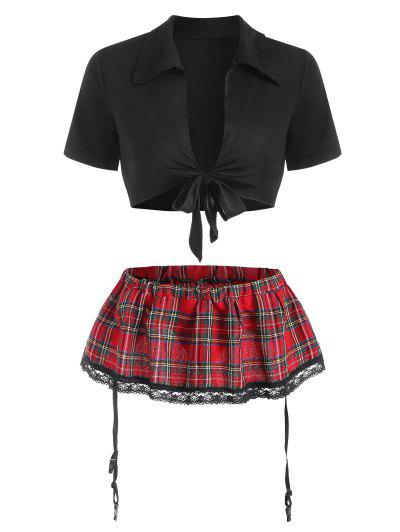 Tie Front Plaid Garter Lingerie Set - Black M
