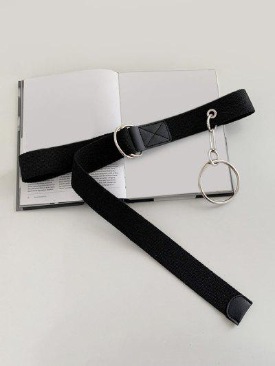O Ring Pendant Canvas Belt - Black