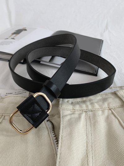 Metal Buckle PU Waist Belt - Black