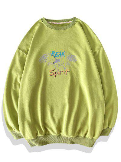 Eagle Letter Graphic Print Drop Shoulder Sweatshirt - Light Green Xl
