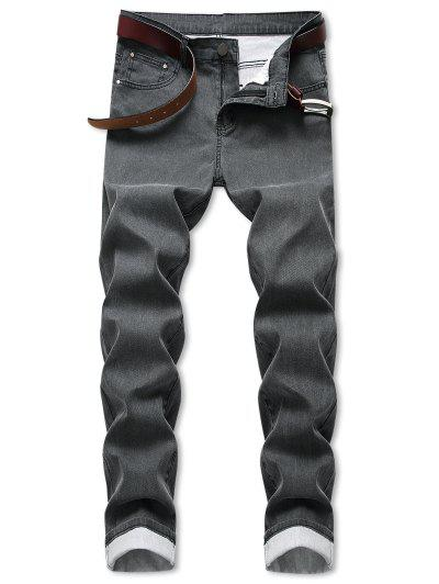 Zipper Fly Simple Style Straight Jeans - Ash Gray 32