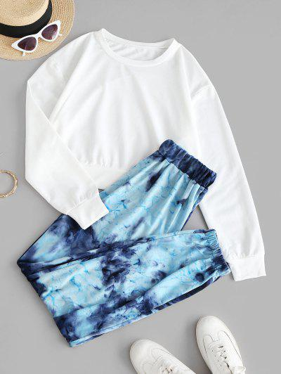 Plain Tie Dye Sweat Two Piece Set - Blue M