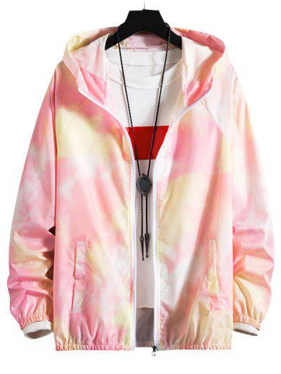 Tie Dye Raglan Sleeve Lightweight Sunproof Hooded Jacket - Light Pink Xs