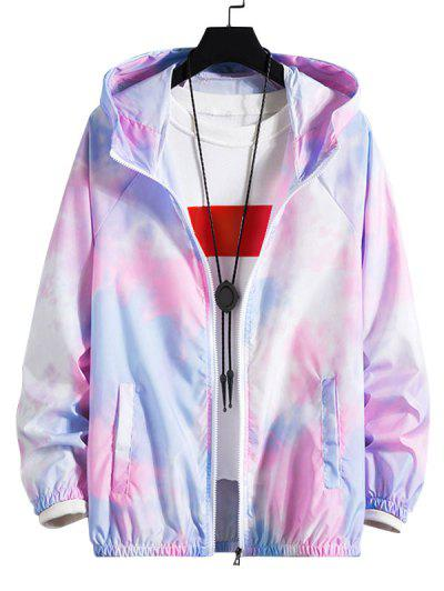 Tie Dye Raglan Sleeve Lightweight Sunproof Hooded Jacket - Mauve L