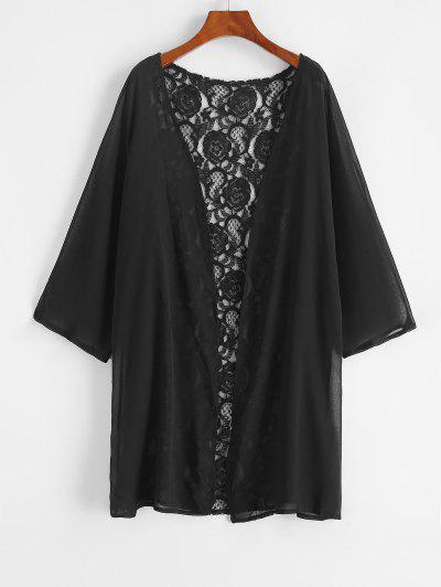 Lace And Chiffon Kimono Cover-up - Black S