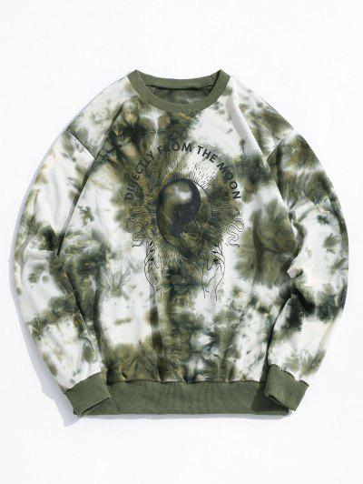 ZAFUL Tie Dye Moon Graphic Sweatshirt - Deep Green S
