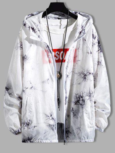 Tie Dye Sunproof Raglan Sleeve Lightweight Hooded Jacket - Carbon Gray L