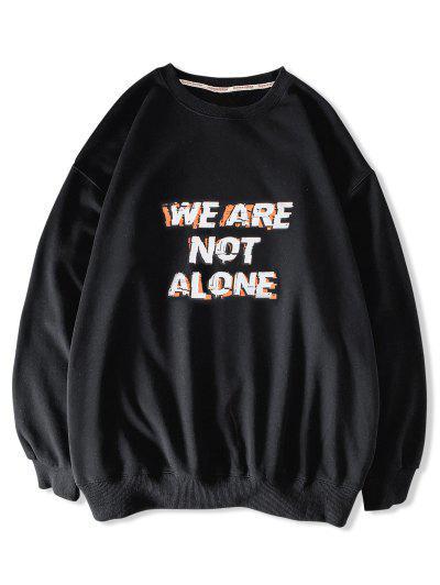 Sweat-shirt Décontracté Slogan Imprimé à Goutte Epaule - Noir S