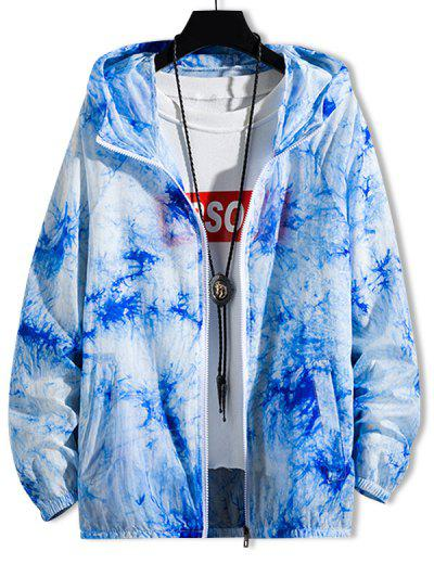 Tie Dye Sunproof Raglan Sleeve Lightweight Hooded Jacket - Ocean Blue Xl