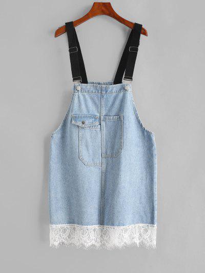 Flap Pocket Lace Trim Overall Jean Dress - Blue Gray L