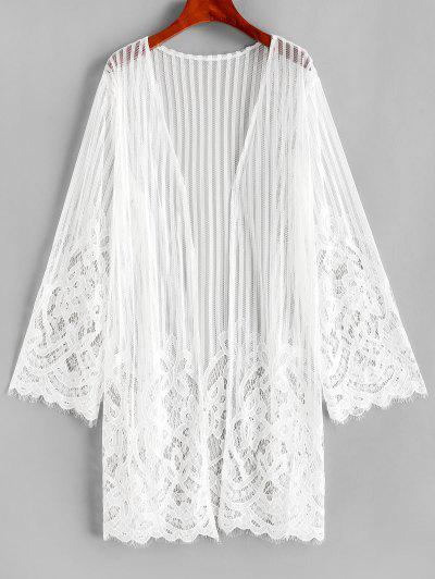 Lace Long Sleeve Kimono Cover Up - White L