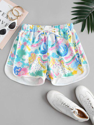Graffiti Drawstring Dolphin Shorts - Multi S