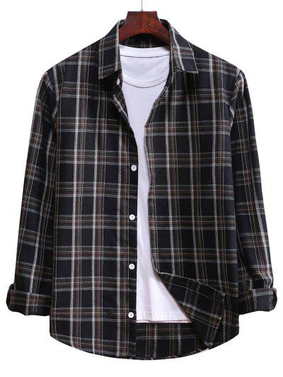 Plaid Curved Hem Button Up Shirt - Black M