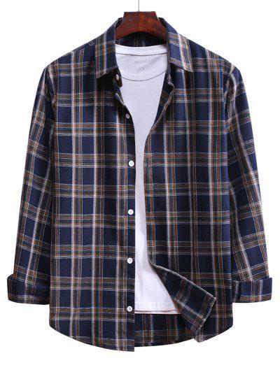 Camisa De Cordão De Botão Xadrez - Azul Escuro De Denim  L