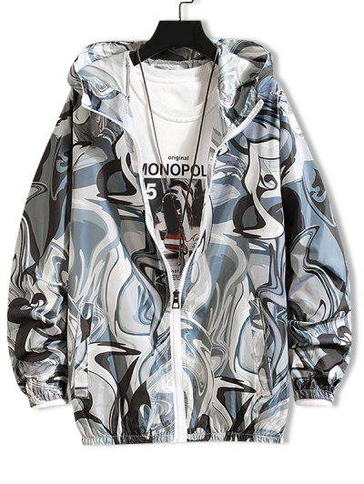 Raglan Sleeve Art Graphic Sunproof Hooded Jacket - Ash Gray Xs