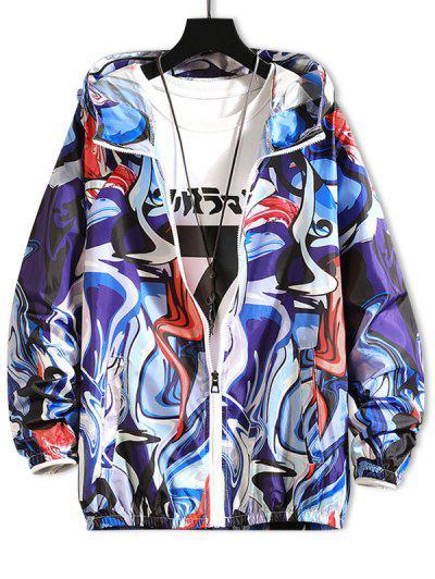 Raglan Sleeve Art Graphic Sunproof Hooded Jacket - Denim Dark Blue Xs