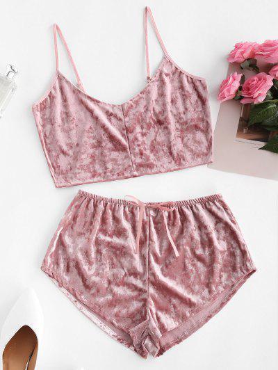 Conjunto De Pijama De Cami Terciopelo Ajustado - Rosa Claro L