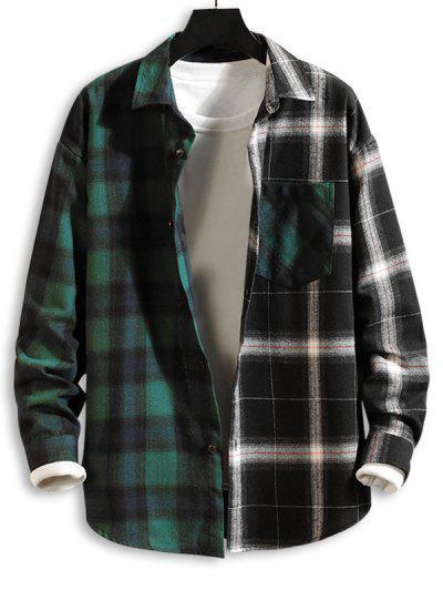 Colorblock Panel Pocket Patch Button Down Shirt - Green M