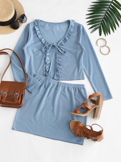 Vestido Duas Peças Com Nervuras Sem Mangas E Babado - Seda De Azul S