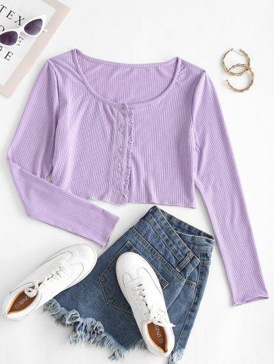 Button Up Frilled Trim Ribbed Tee - Light Purple M
