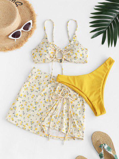 ZAFUL Ribbed Lemon Print Cinched Three Piece Bikini Swimwear - Yellow S