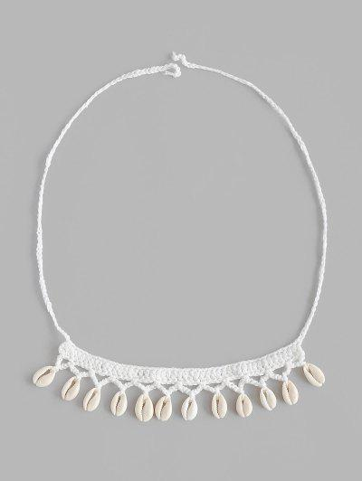 Beach Shell Embellish Crochet Choker Necklace - White