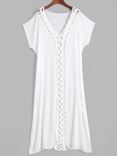 Robe De Plage Fendue Plongeante Au Crochet Inséré - Blanc