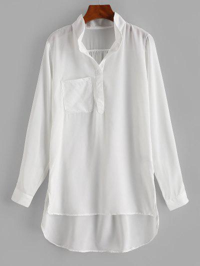 Front Pocket High Low Chiffon Tunic Top - White