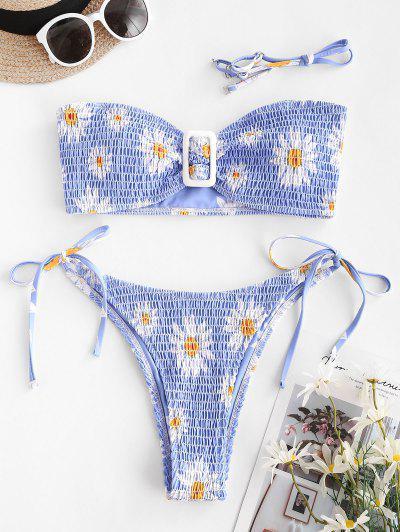 ZAFUL Bikini Sin Tirantes Con Estampado Margarita - Azul Claro S