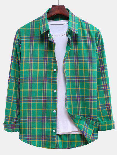 Plaid Curved Hem Button Down Shirt - Clover Green L
