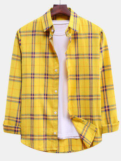 Plaid Curved Hem Button Down Shirt - Rubber Ducky Yellow S
