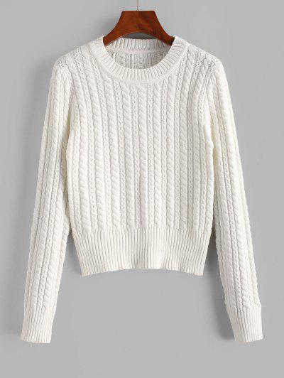 Crew Neck Cable Knit Sweater - White