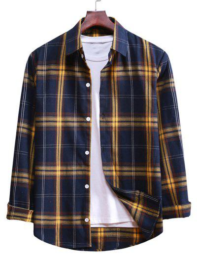 Button Up Plaid Casual Shirt - Denim Dark Blue M