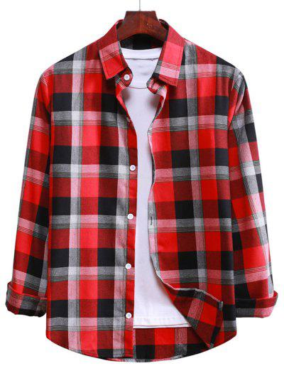 Long Sleeve Plaid Casual Shirt - Lava Red L