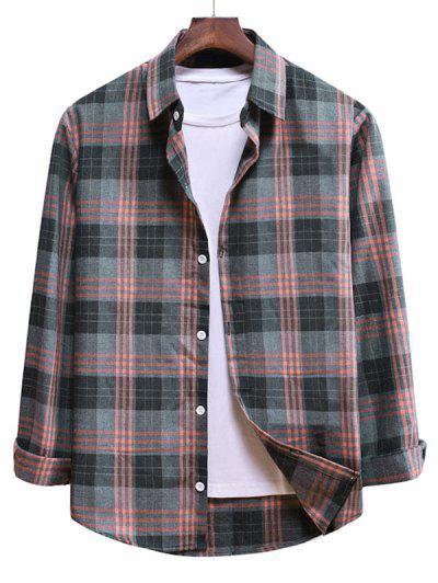 Long Sleeve Plaid Pattern Button Up Shirt - Pink Rose L