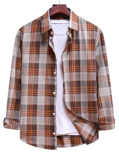 Long Sleeve Plaid Pattern Button Up Shirt - Antique White L