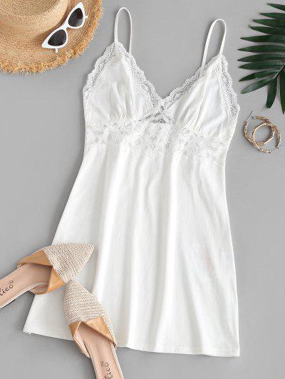 ZAFUL Lace Panel Cami Sleepwear Dress - White S