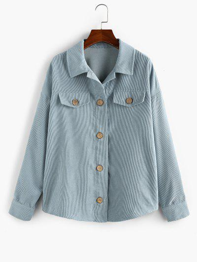 ZAFUL Corduroy Button Up Flap Detail Jacket - Blue Gray L