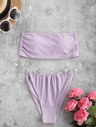 ZAFUL Clear Strap Ribbed Bikini Swimwear - Light Purple L