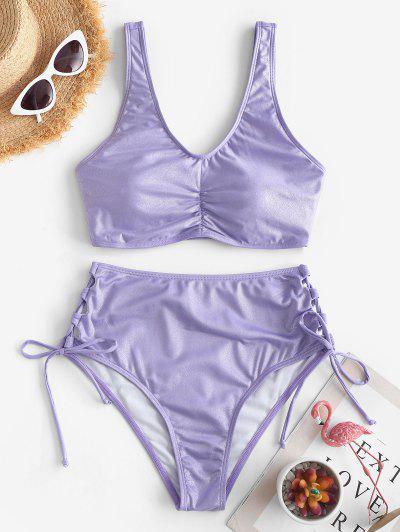 ZAFUL Shiny Ruched Lace Up Tankini Swimwear - Purple 2xl