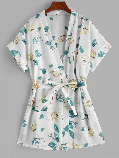 Floral Beach Robe - White