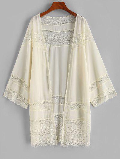 Lace Panel Chiffon Cover-up Kimono - Light Yellow S